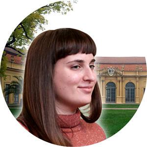 Studentin vor der Orangerie, Fotomontage